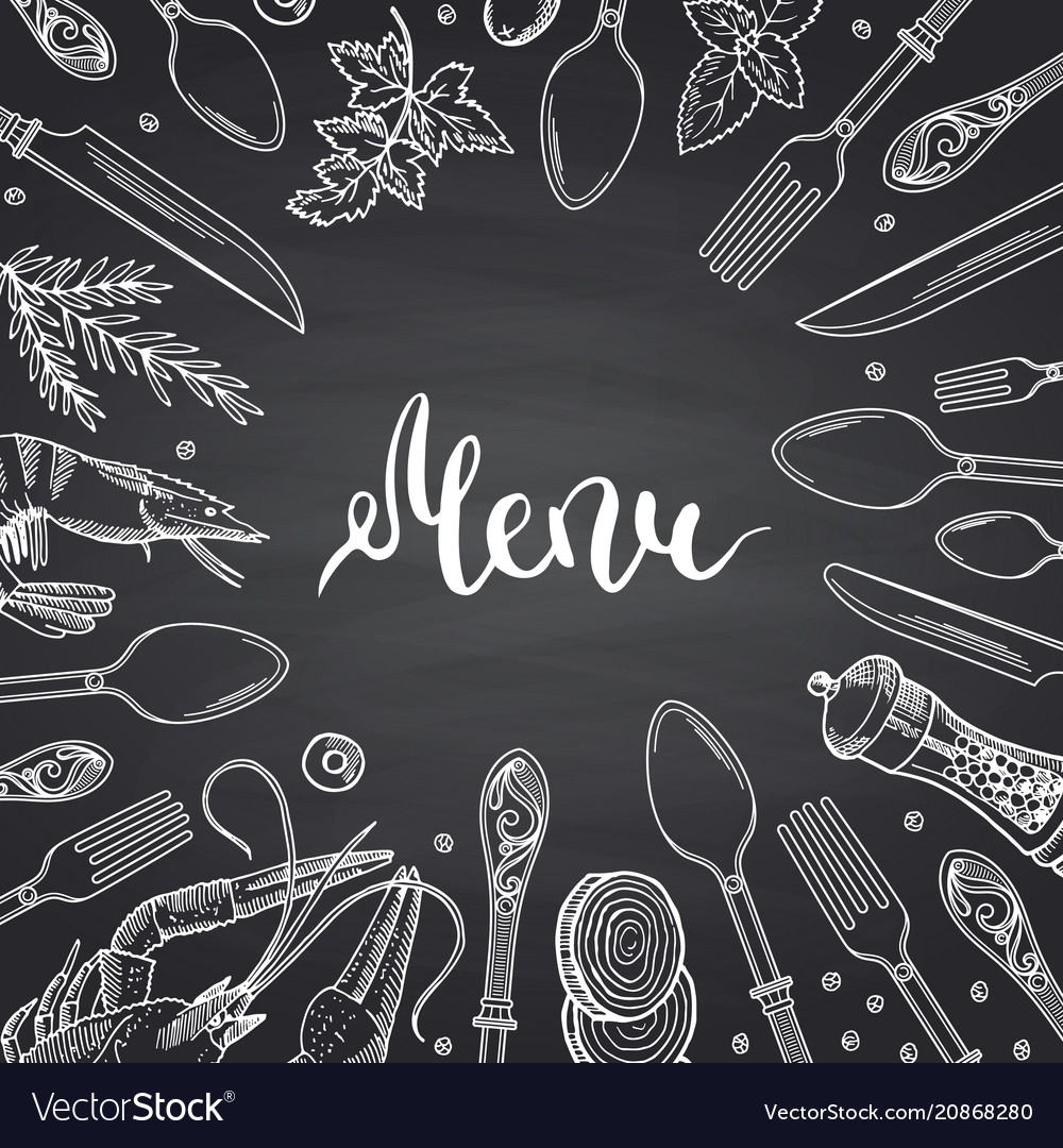 Menu background on black chalkboard