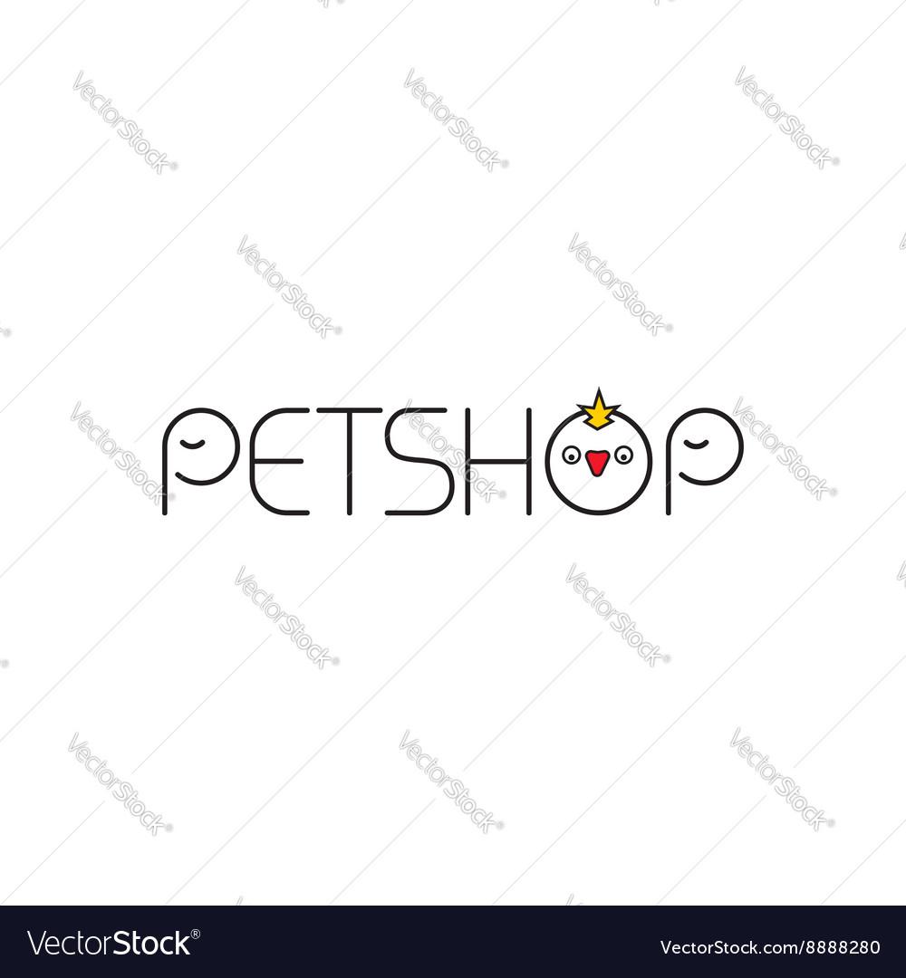 Pet shop logo outline elephant and bird vector image