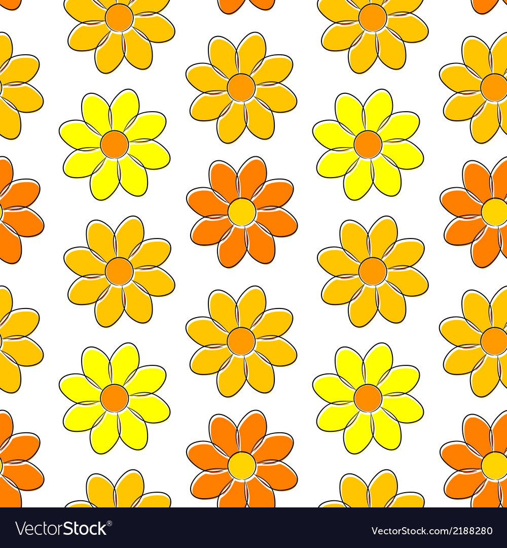 Seamless pattern with yellow camomiles