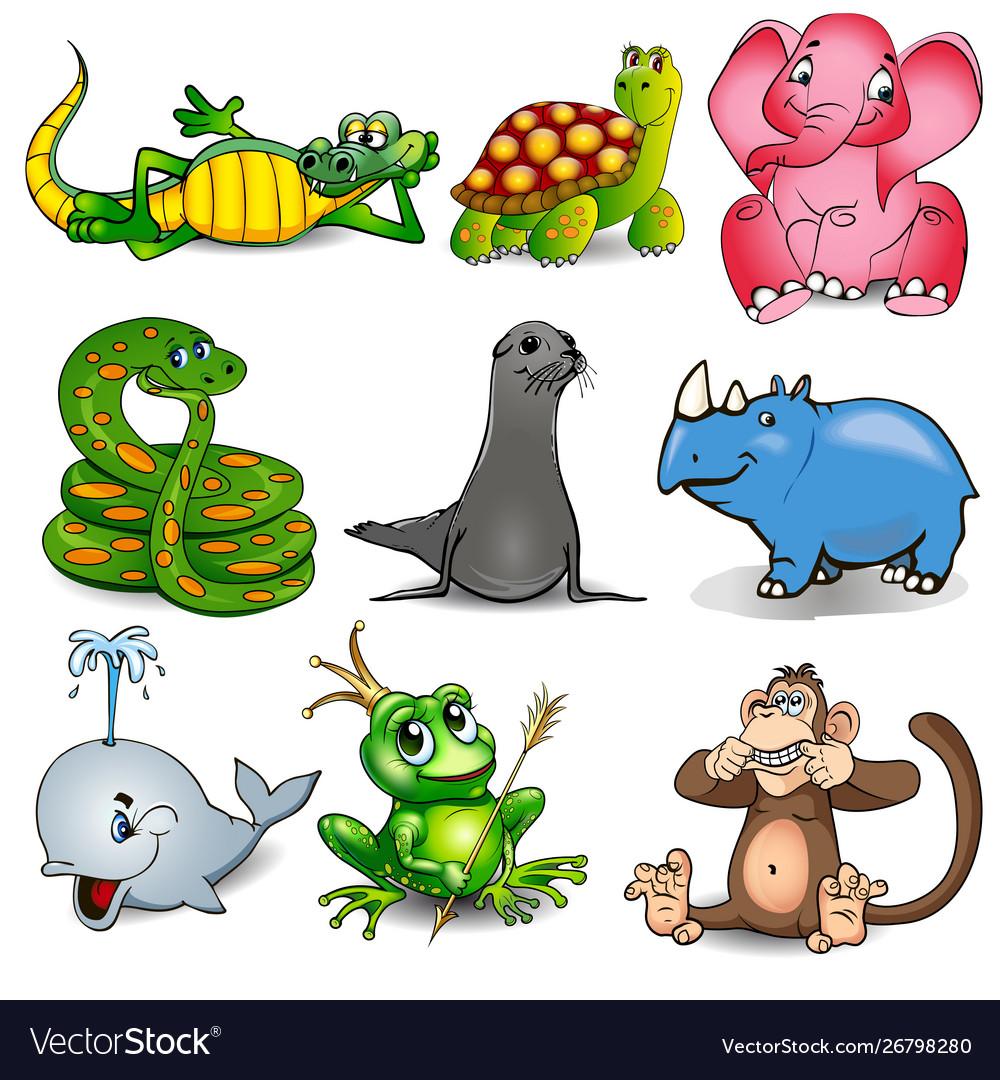 Set cartoon animals with crocodile turtle