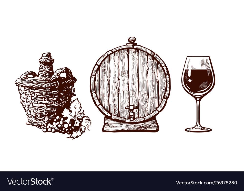 Set hand drawn elements for wine design