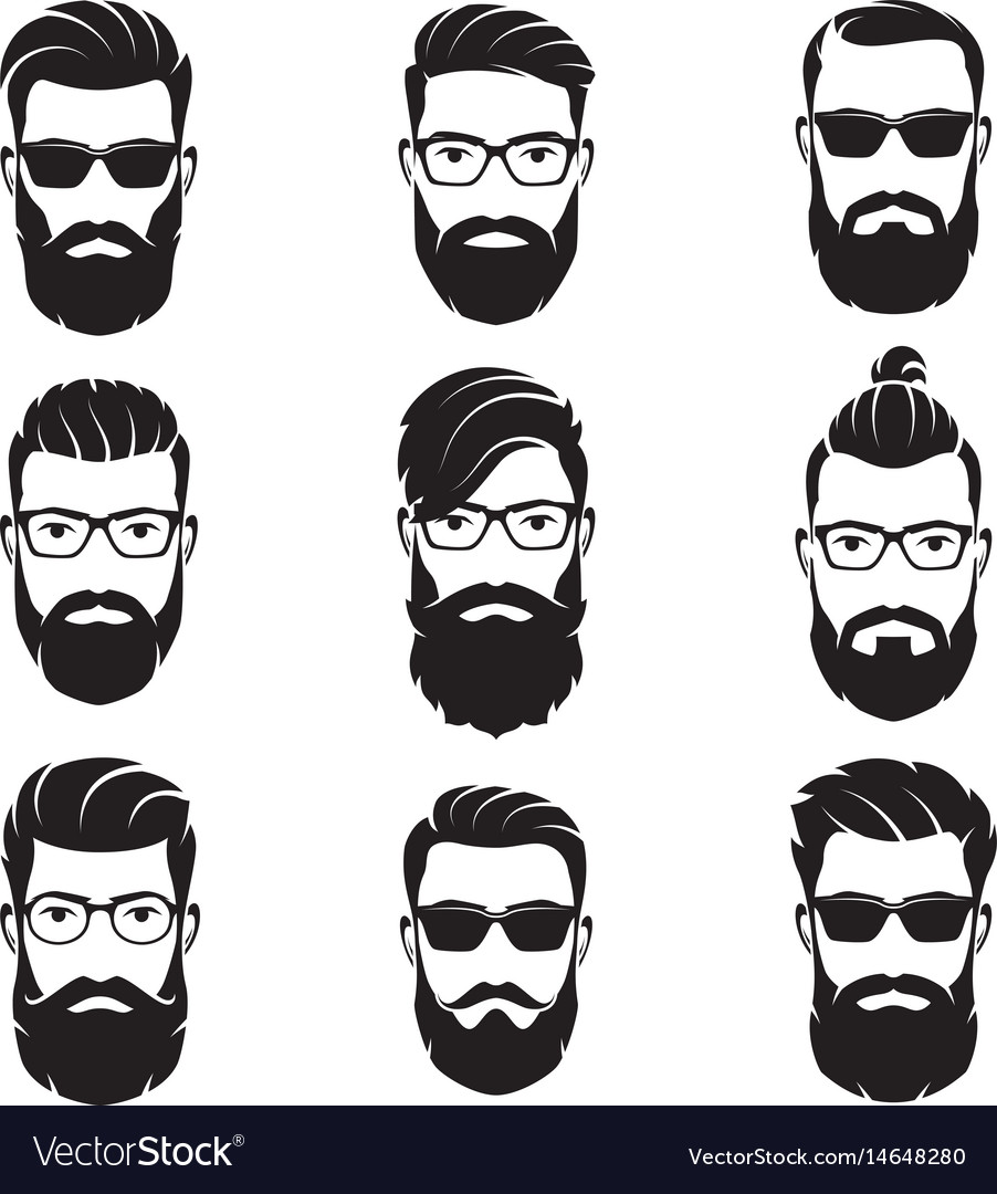 Set of bearded men faces hipsters vector image