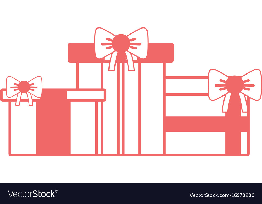 Silhouette Nice Presents Gifts To Merry Christmas Vector Image