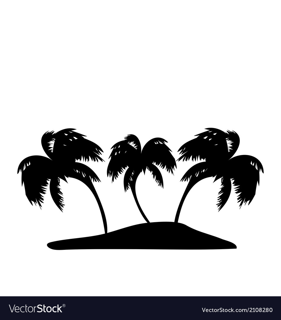 Tropical island with palm trees silhouette vector image