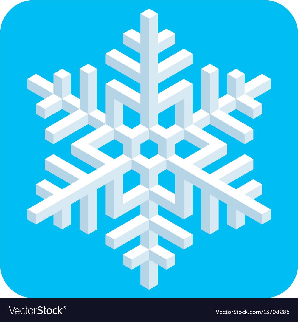 3d isometric snowflake icon
