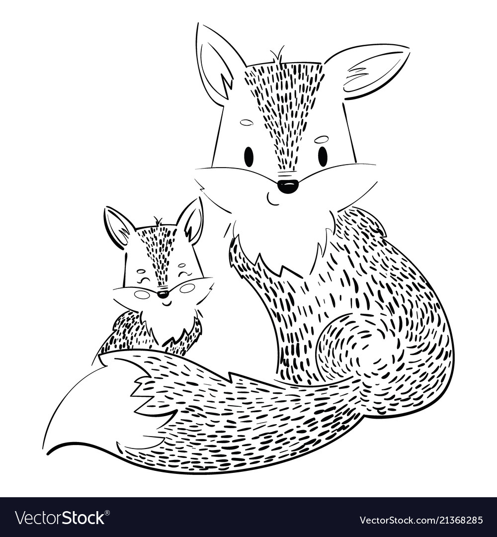 Cartoon family of foxes a stylized fox with a fox