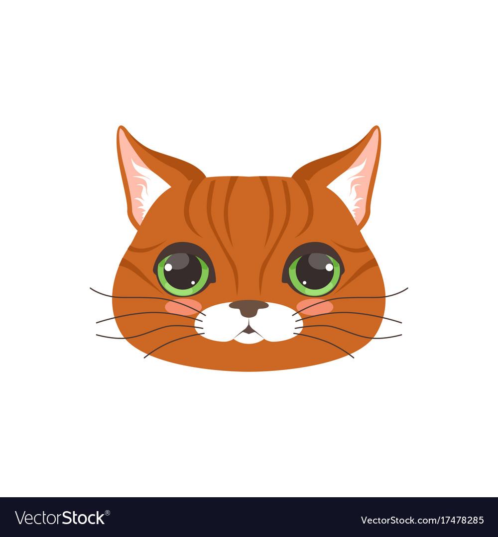 Cute Red Cat Head Funny Cartoon Animal Character Vector Image