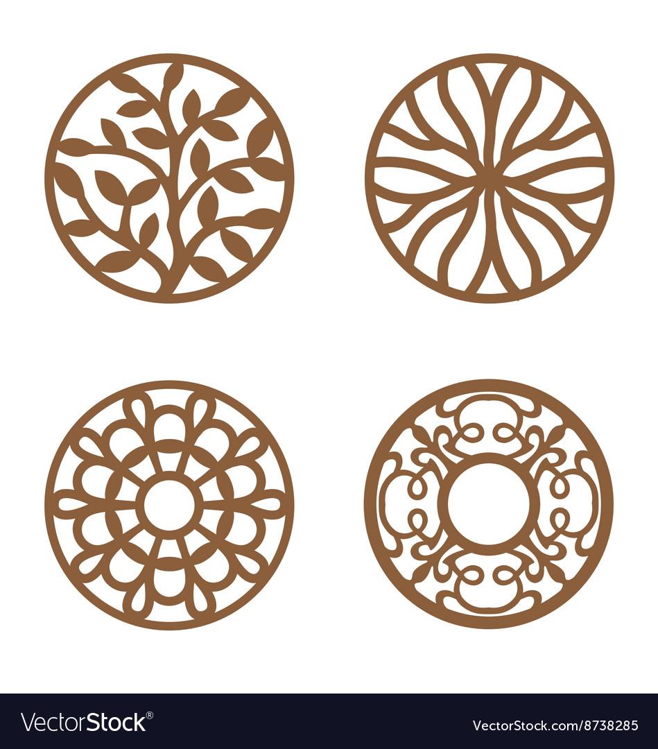 Flower Design Laser Cut Wood Coaster Vector Image