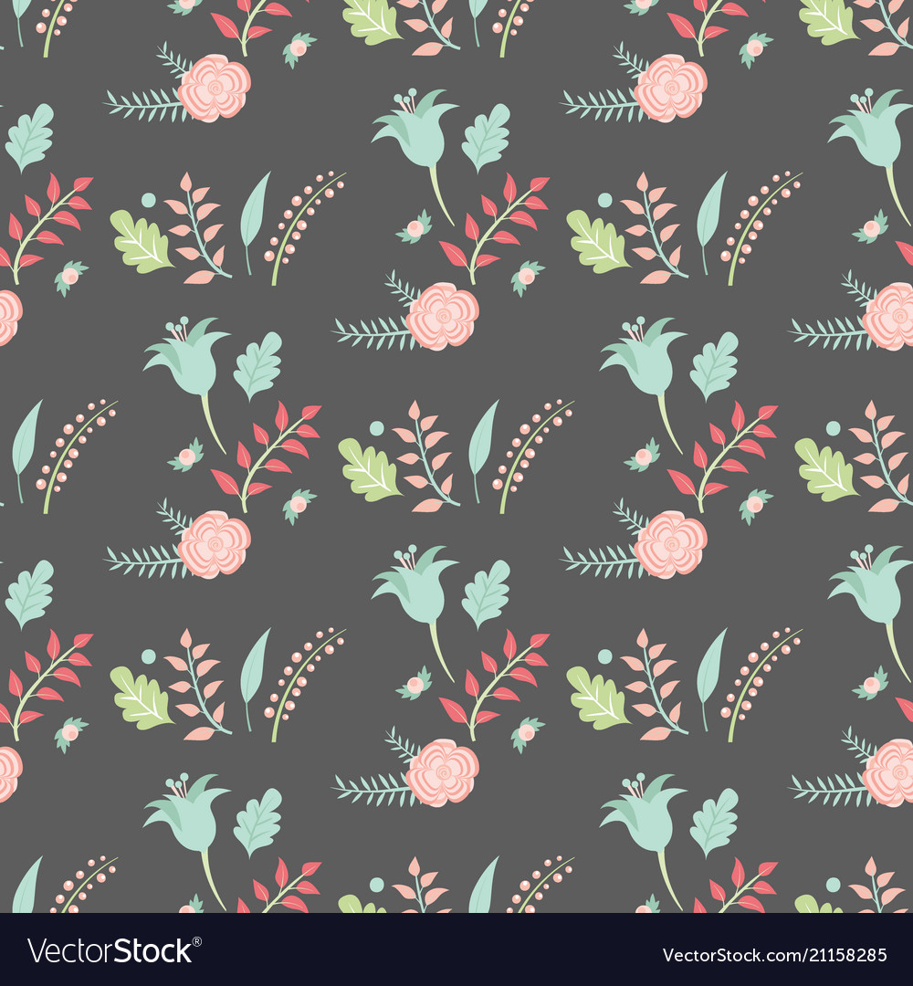 Nature flowers hand drawn foliage seamless vector image