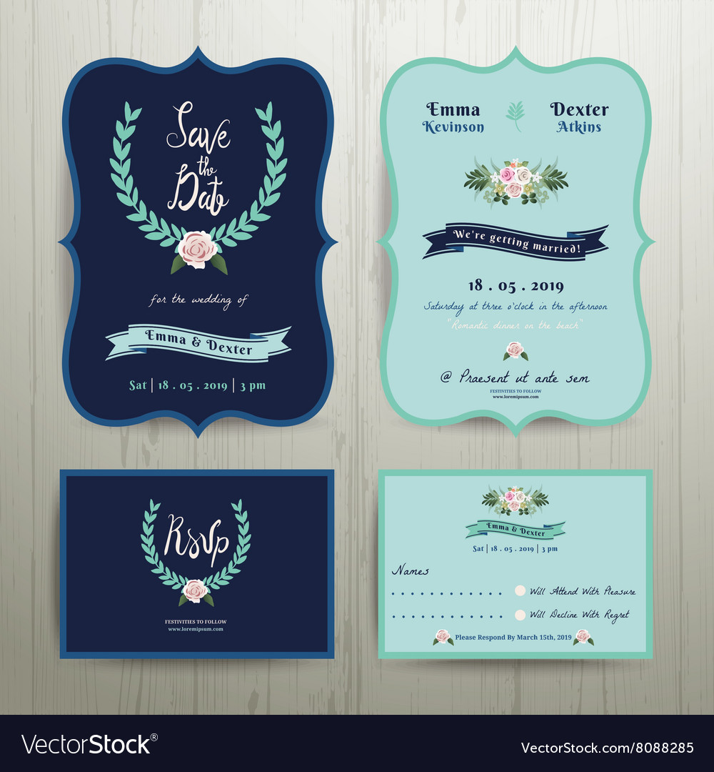Navy Blue Wedding Invitation Card Royalty Free Vector Image