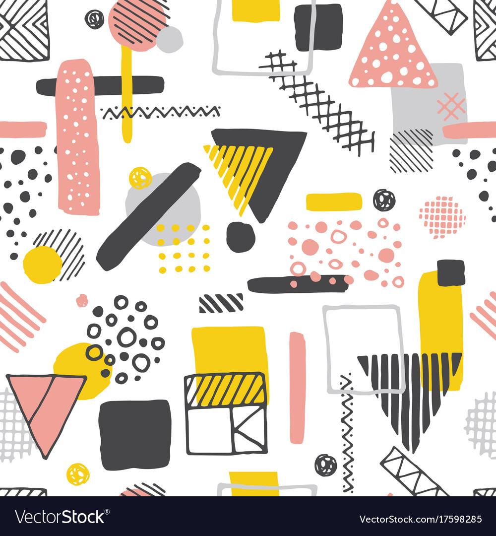 Retro geometric hand drawn seamless pattern