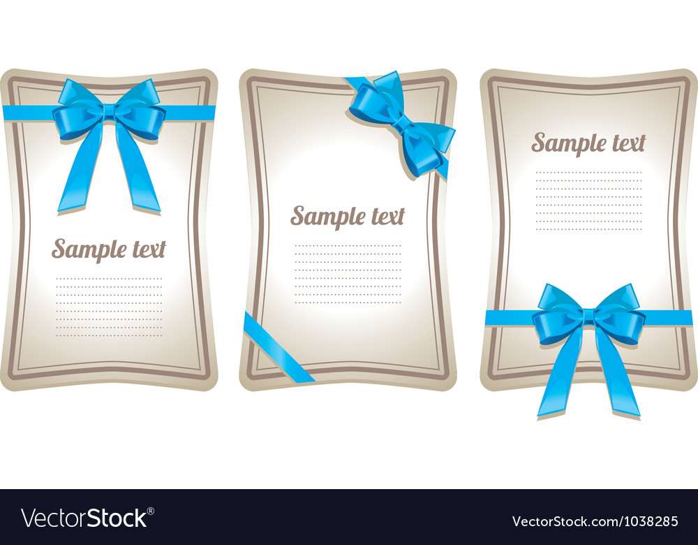 Set of card note with gift bows