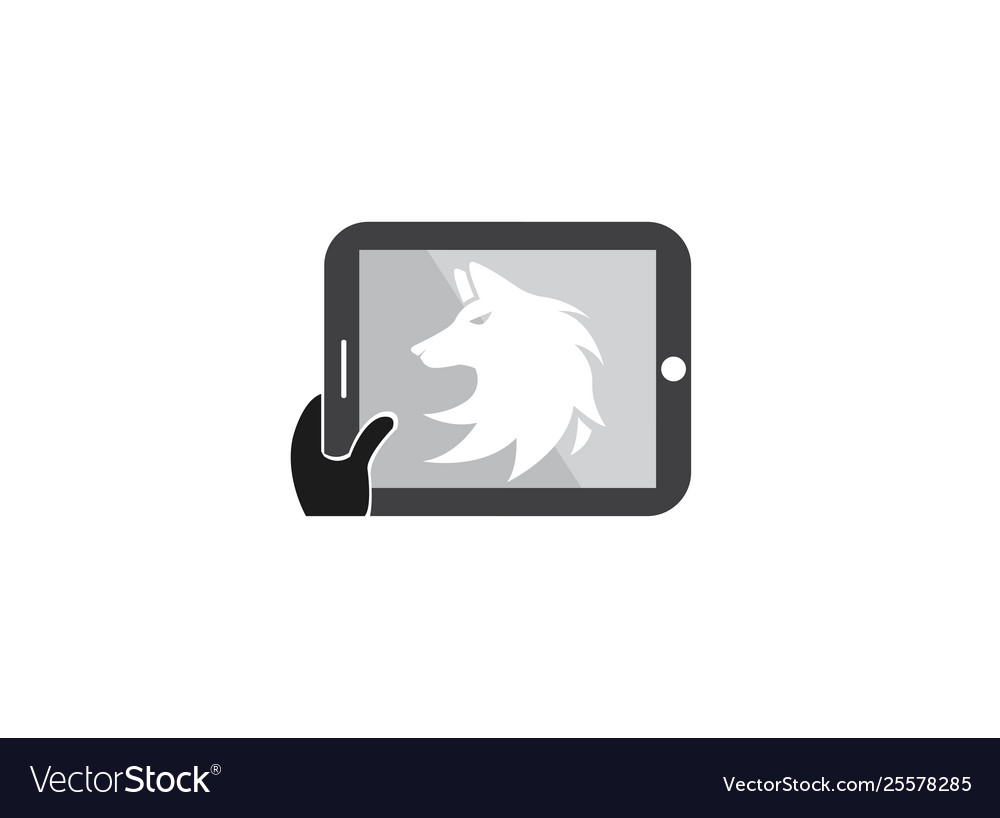 Wolf head logo fox face design in a tablet shape