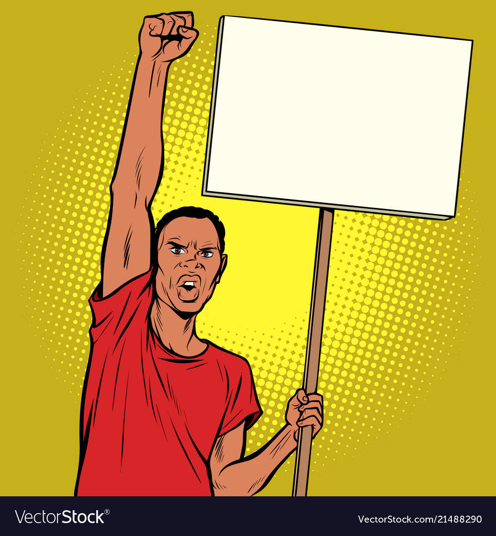 Afrikan man protests with a poster