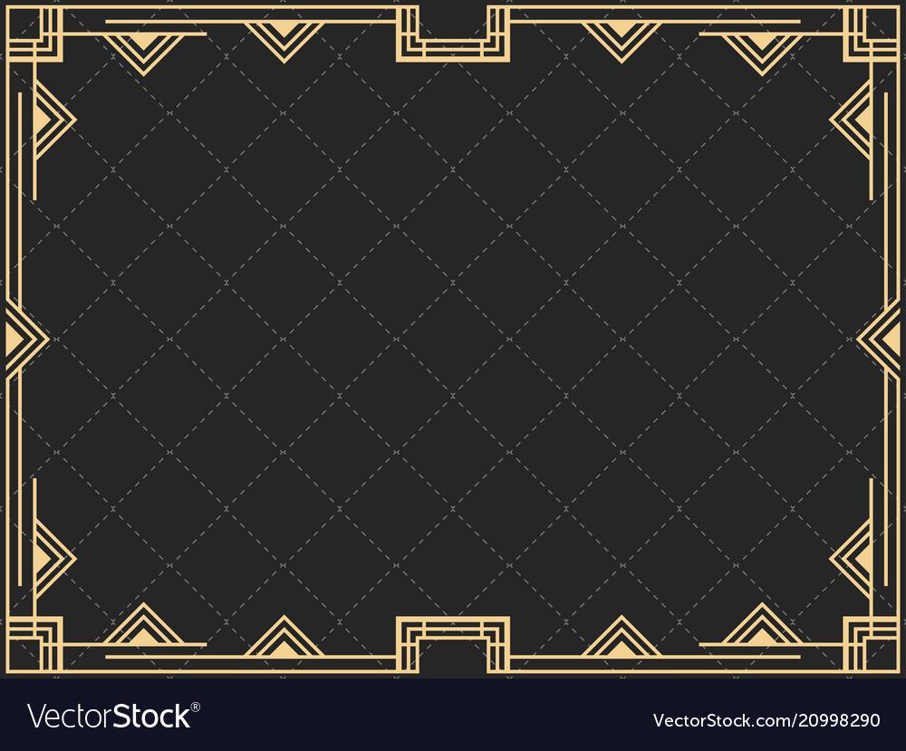 Art Deco Frame Vintage Linear Border Design Vector Image