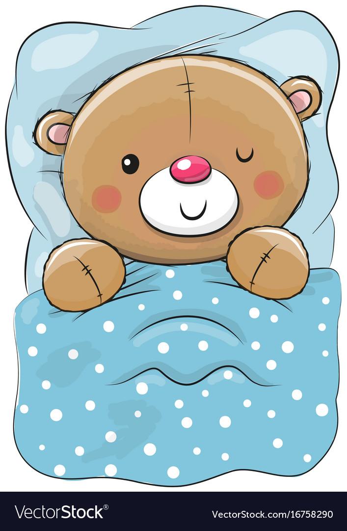 cute cartoon sleeping teddy bear royalty free vector image