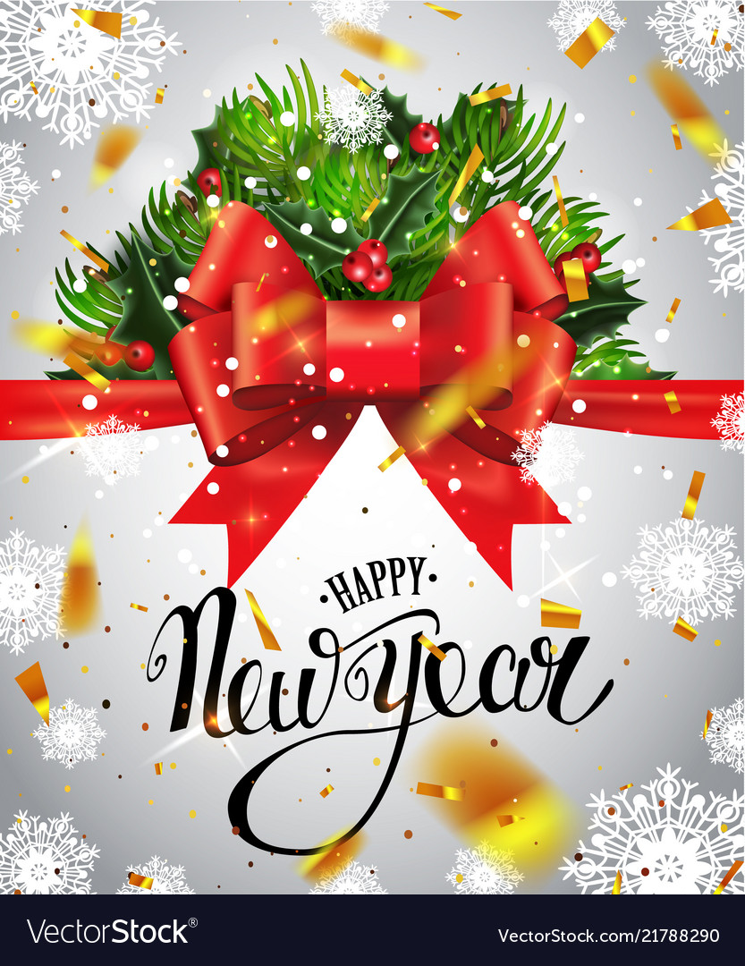 Happy new year lettering greeting card for holiday