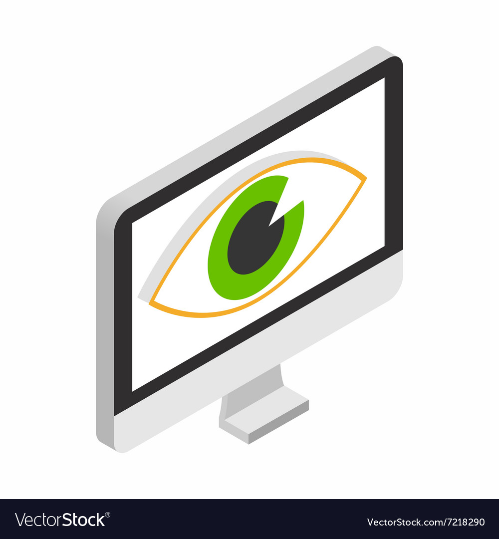 Monitor with eye isometric 3d icon