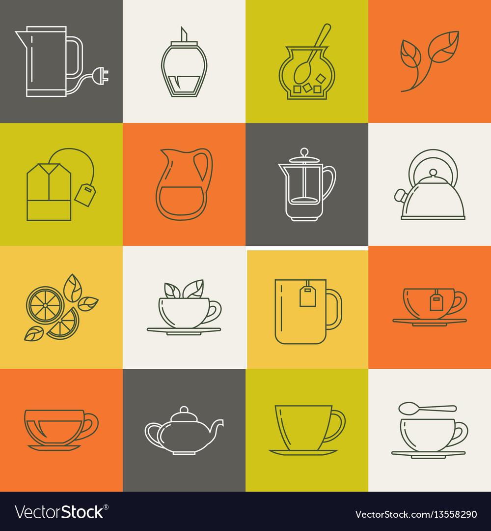 Multicolor tea line icons set