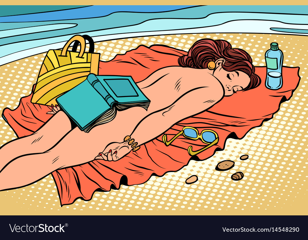 Naked woman sunbathing on the beach