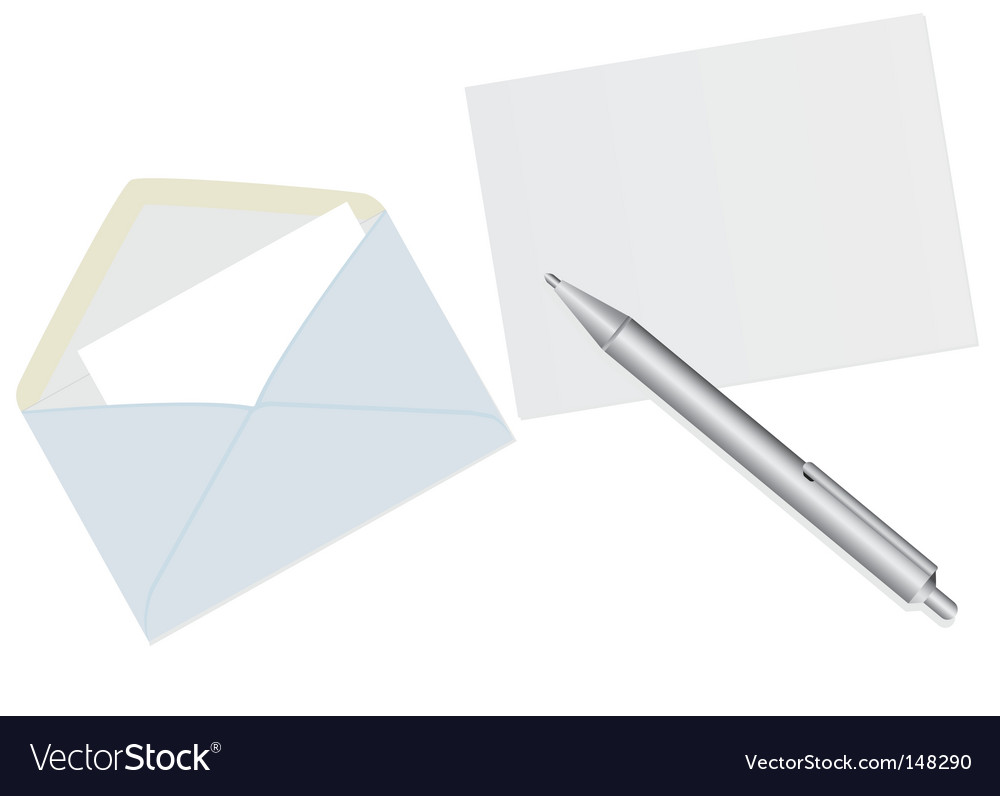 Paper envelopes and a pen vector image