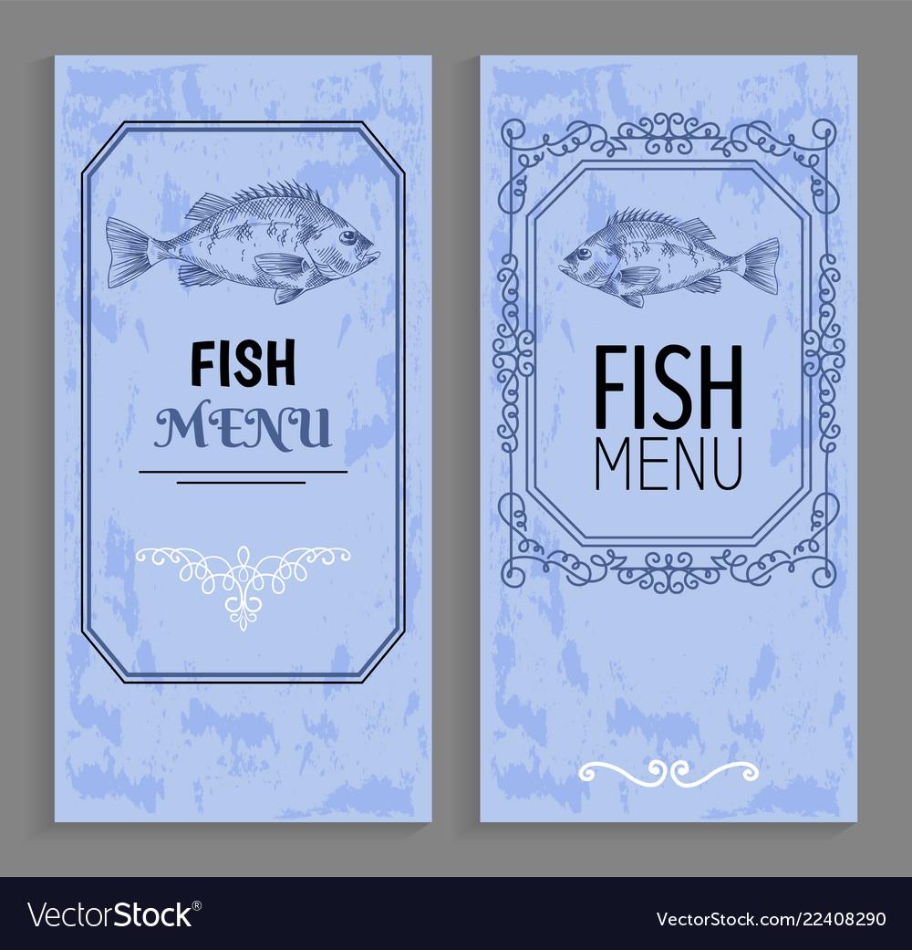 Template of fish menu sample with vintage frame
