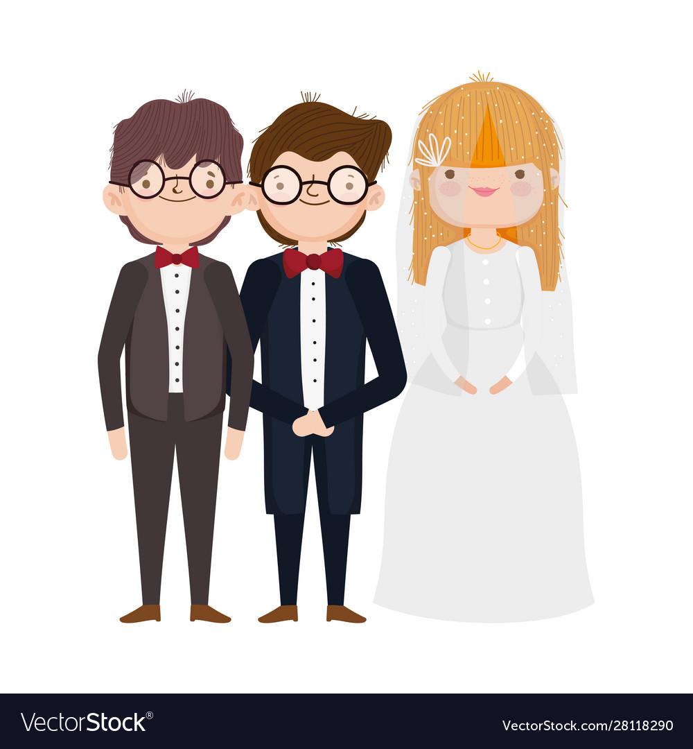 Wedding bride and grooms cartoon characters