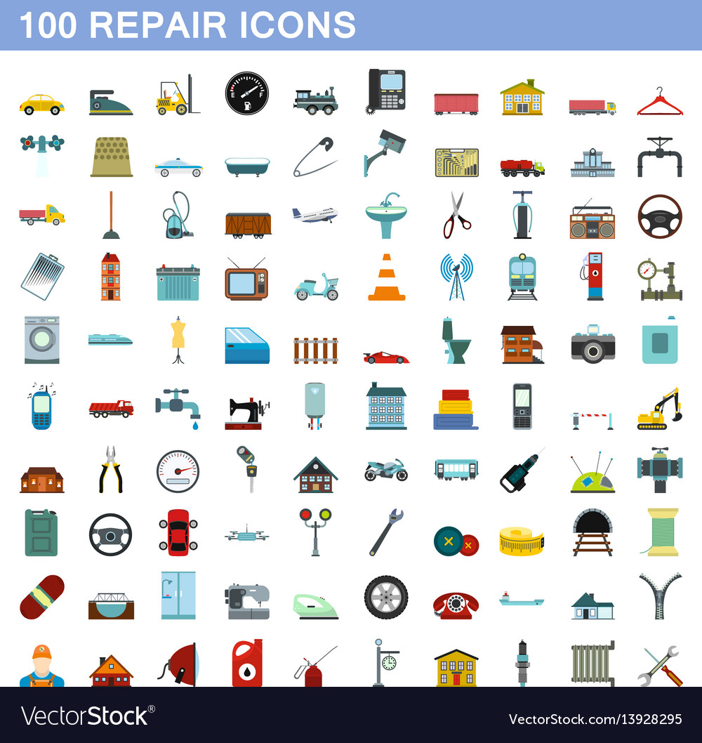 100 repair icons set flat style