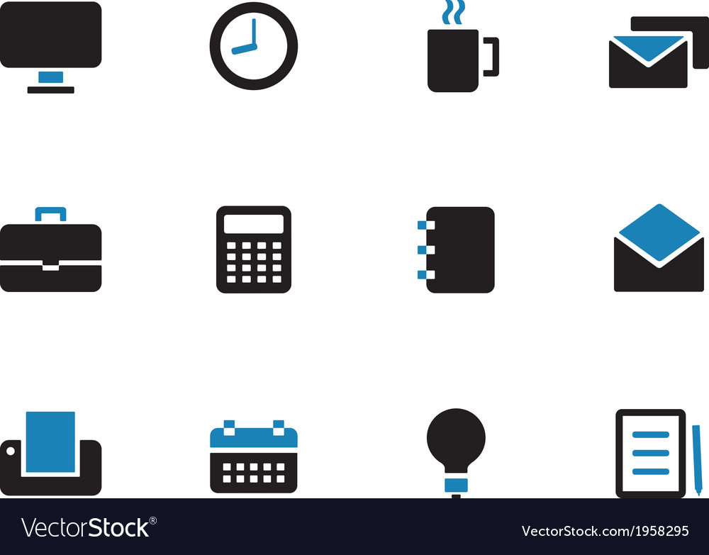 Business duotone icons on white background