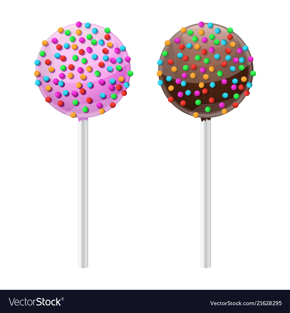 Cake pop sweet dessert with chocolate and pink