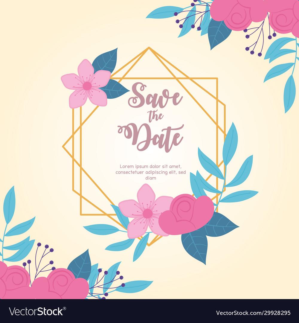Flowers wedding save date elegant flowers