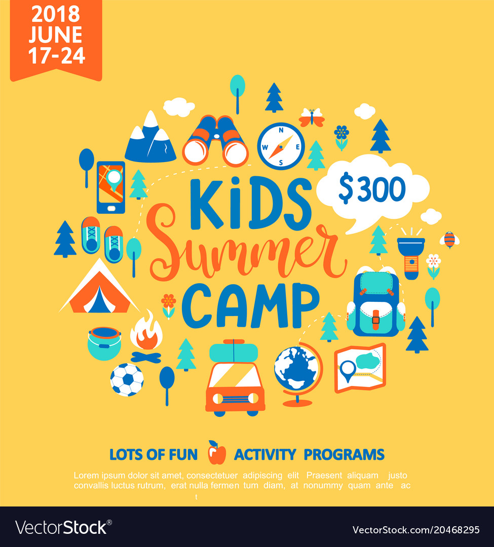 Kids Summer Camp With A Lot Of Camping Equipment Vector Image