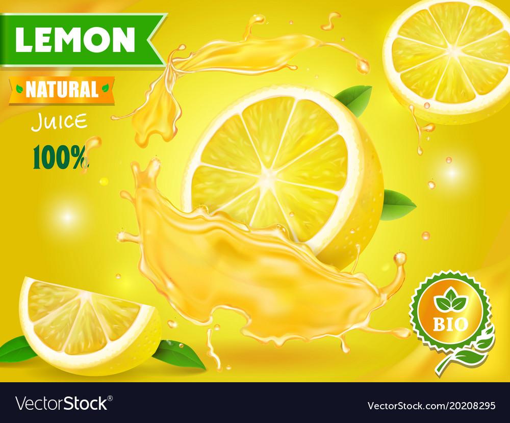 Lemon juice advertising with realistic fresh fruit
