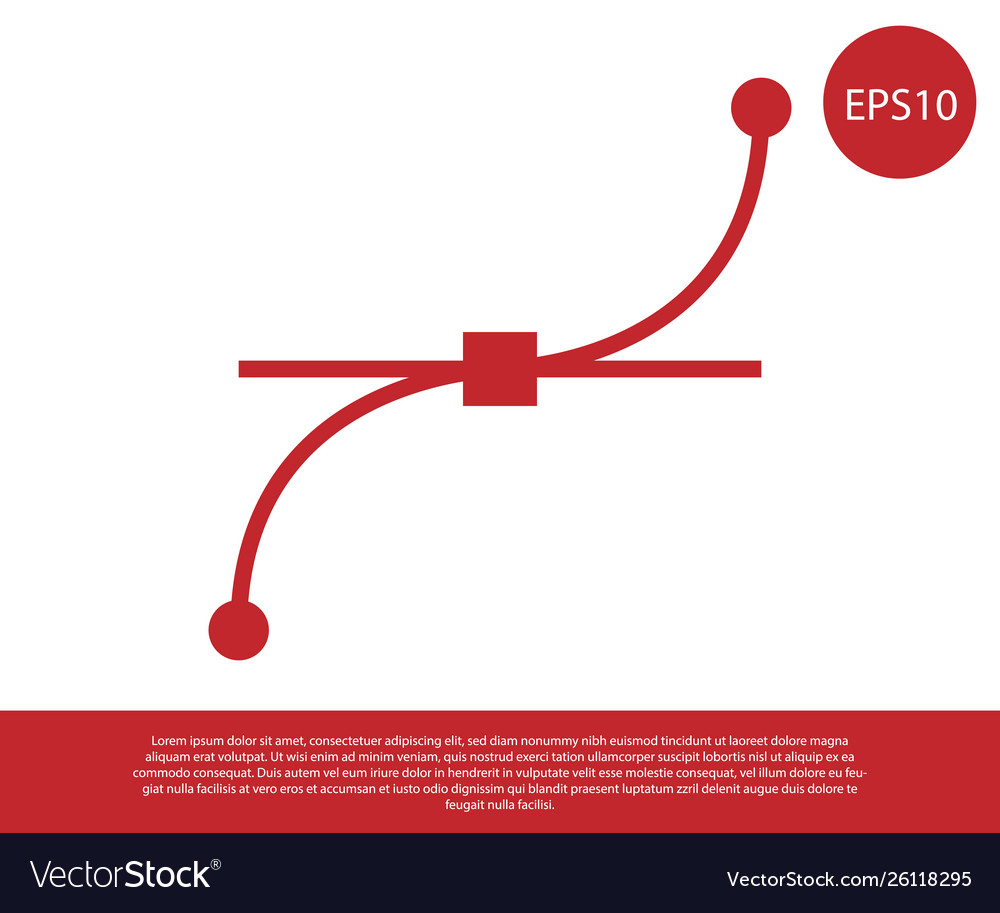 Red bezier curve icon isolated on white
