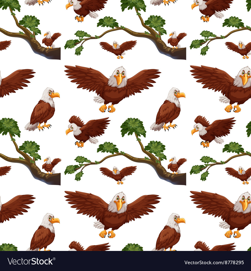 Seamless eagles flying and branch