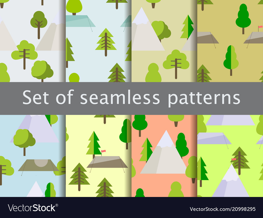Seamless patterns with flat trees tents vector image