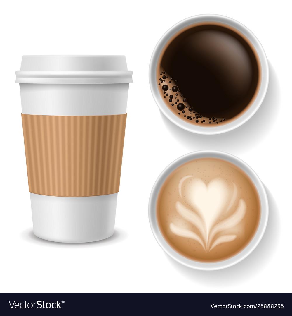 Cups In Beverages Coffee Paper Top View Takeaway BCxedWro