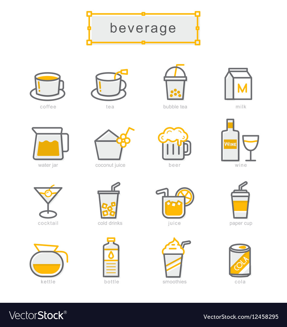 Thin line icons set beverage vector image