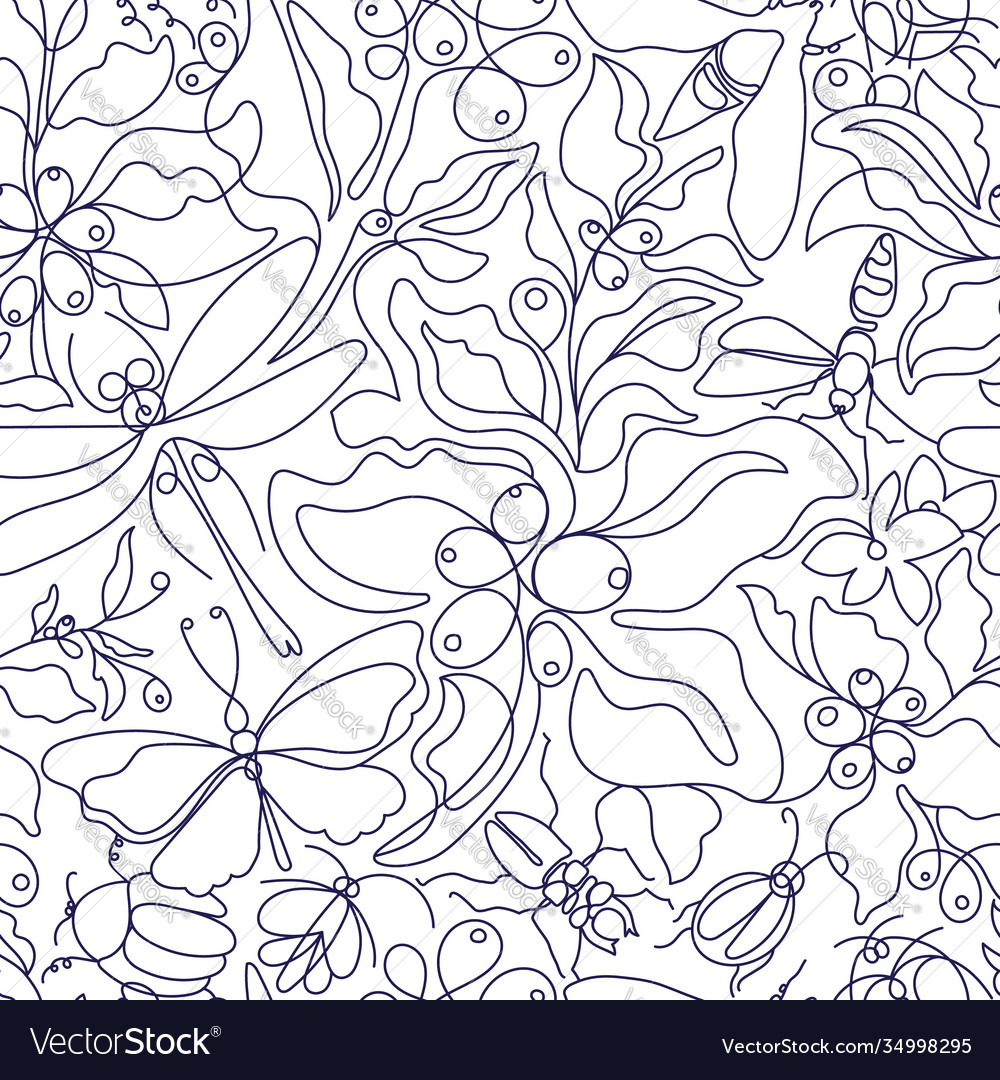 Vintage boho seamless pattern art line botanical