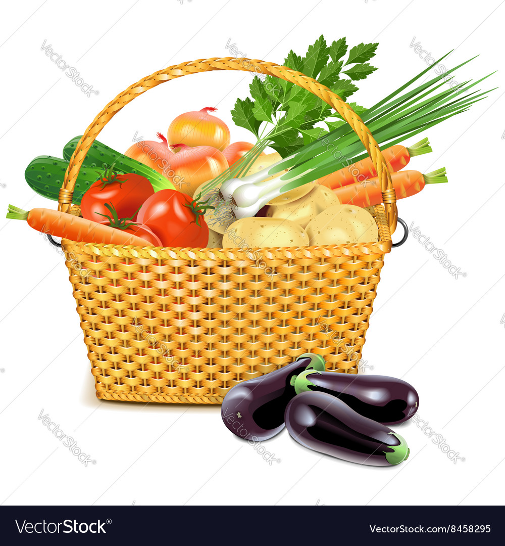 Wicker Basket with Vegetables