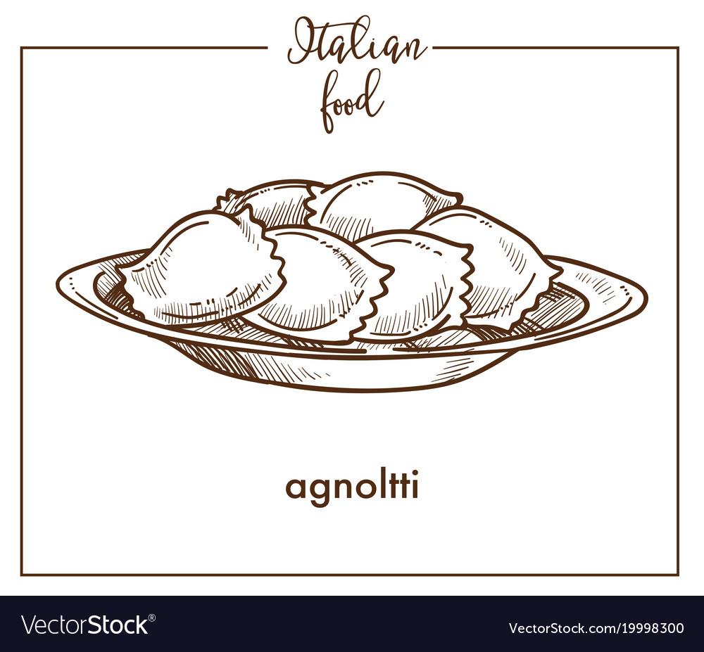 Agnolotti pasta sketch icon for italian vector image