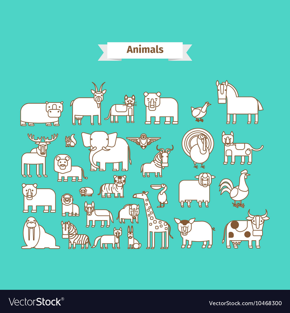 Animals Line Art Icons