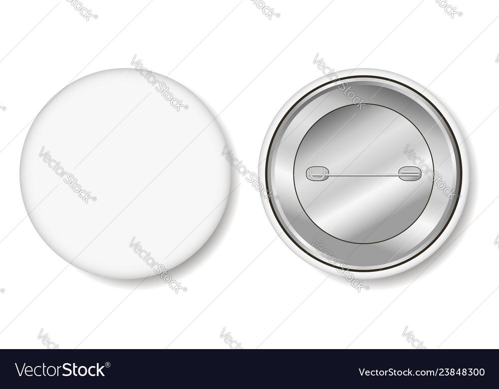 Badge blank white pin button
