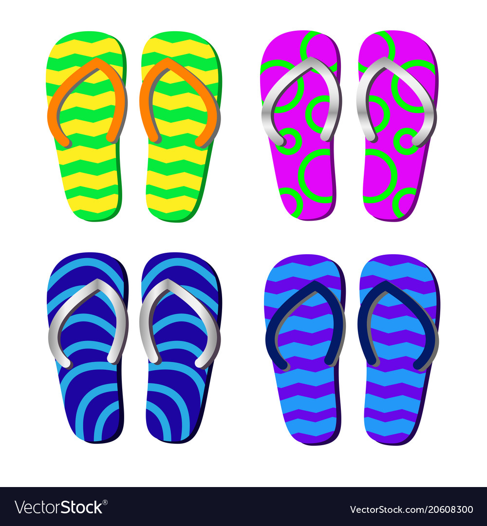 20a37e3564cce4 Beach slippers with pattern isolated for Vector Image