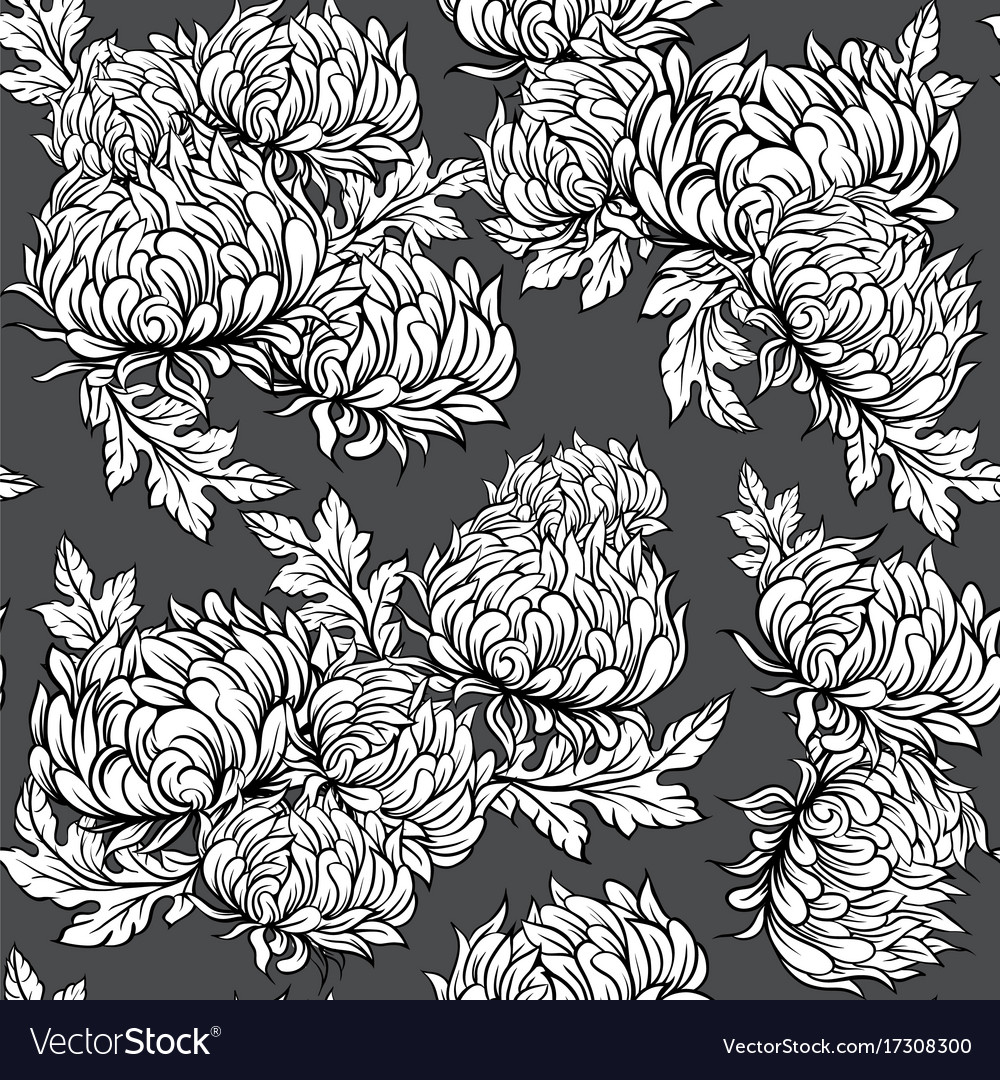 Black and white pattern with peony flowers in