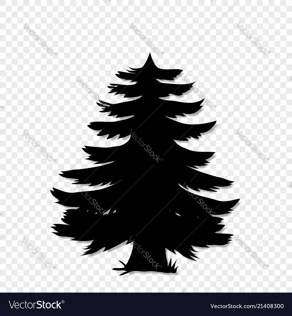 Black silhouette of fir-tree clip art isolated on