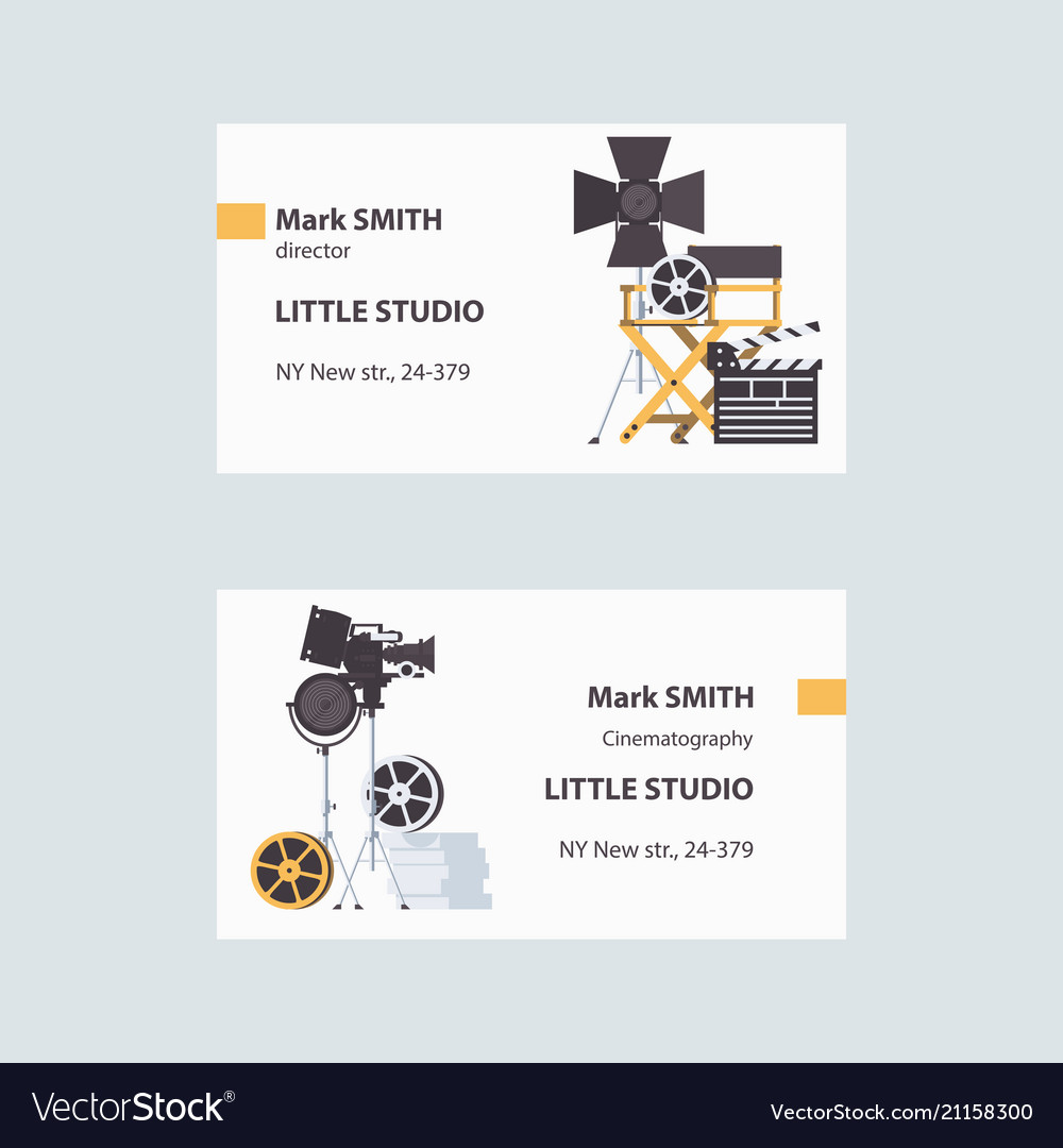 Business cards with cinema filming tools