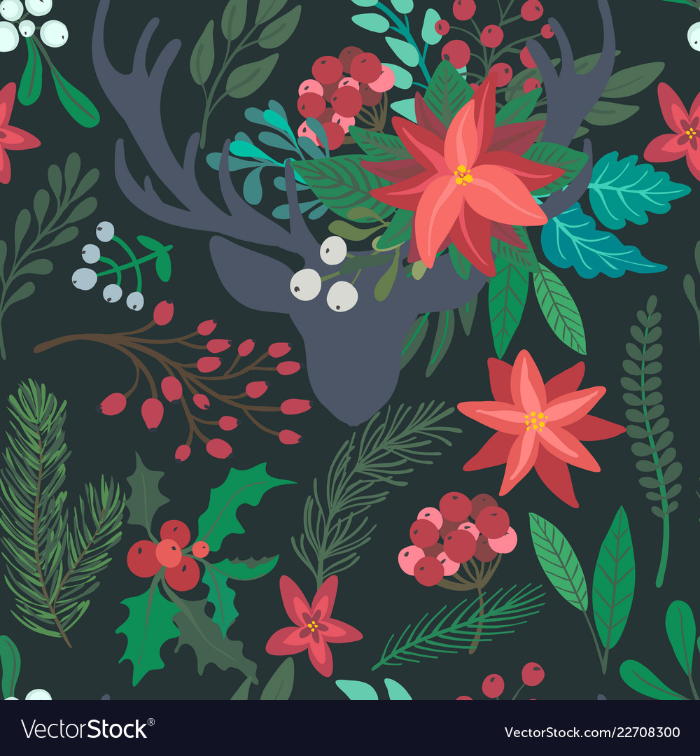 Christmas floral seamless pattern with deer