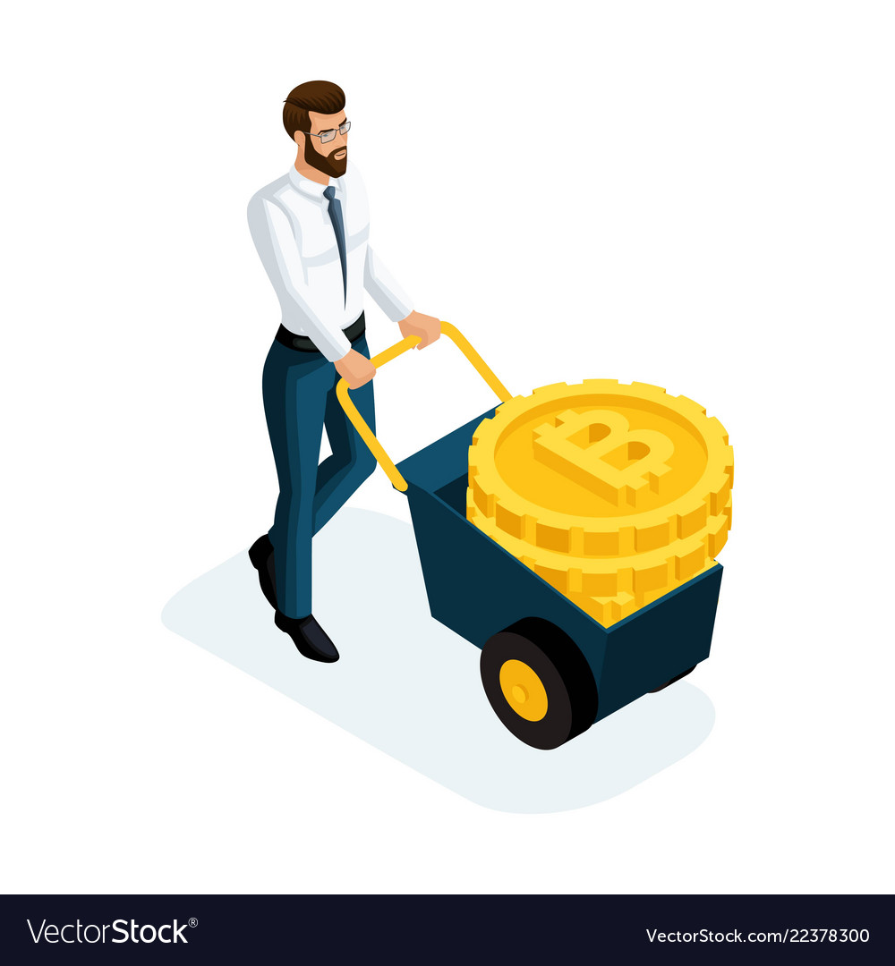 Isometric businessman carrying large gold coins cr