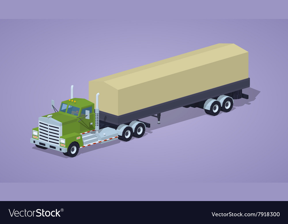 Low poly green heavy truck and trailer with the